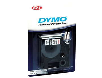 Dymo D1 Polyester tape 12mm  Permanent sort/hvid