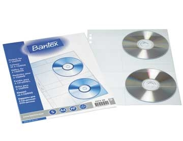 CD lomme Bantex 2074 A4 0,18 mm PP t/2 stk Ps/5
