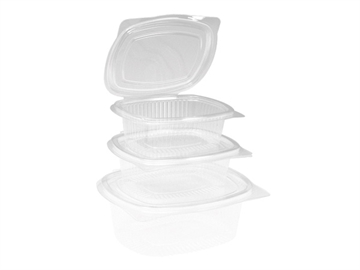 Salatboks PET m/låg 750ml oval glasklar Pk/100