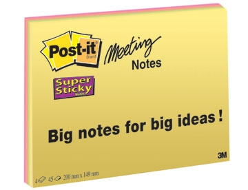Notes Post-it Super Sticky Møde- og Planlægningsnotes 149x200mm Pk/4 ass. farver