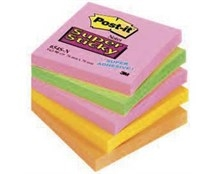 Notes Post-it 654S-N Super Sticky 76x76 mm Neon Ass. Pk/5