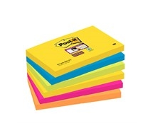 Notes Post-it Super Sticky 655 Rio 76x127mm Pk/6
