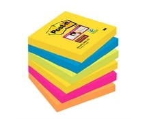 Notes Post-it Super Sticky 654 Rio 76x76mm Pk/6
